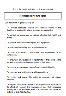 HOFCO Health and Safety Policy