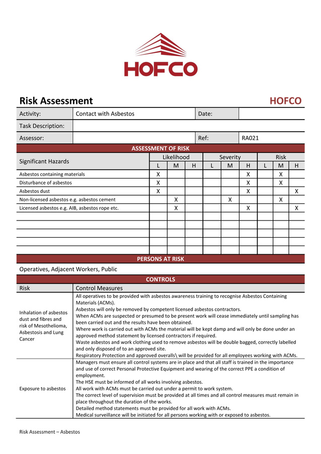 risk involved in construction works A quick introduction to construction risks and contracting practices january 2014 4 appendix a contractor self-qualification do we have the right experience to perform this kind of work.