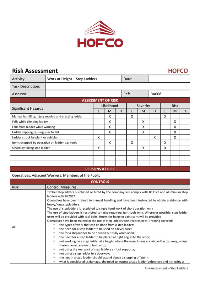 Hofco risk assessment for Step ladder risk assessment template